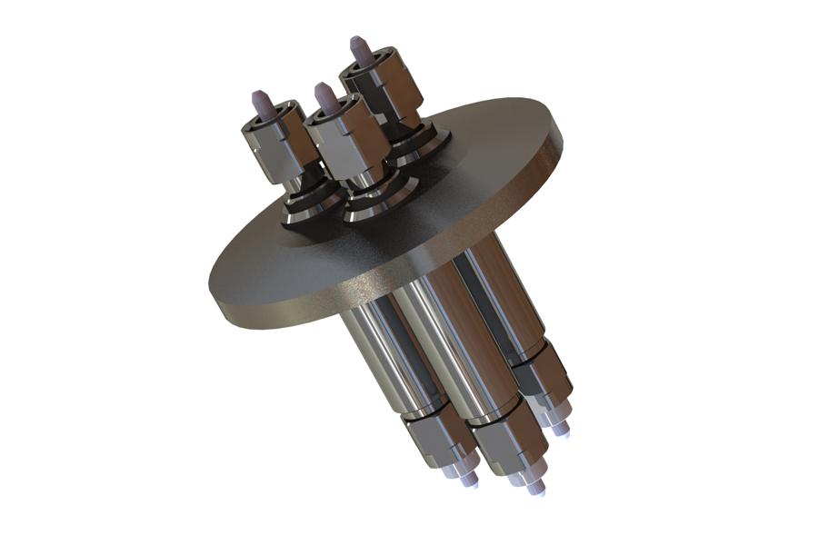 Ruggedized multichannel hermetic fiber-optic feedthroughs